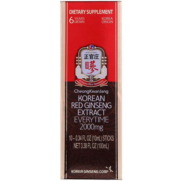 Korean Red Ginseng Extract Everytime, 2000 mg, 10 Sticks, 0.34 fl oz (10 ml) Each