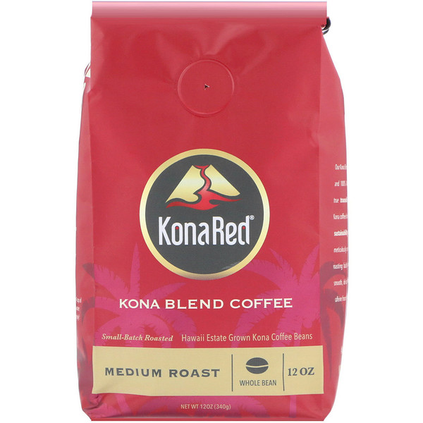 KonaRed , Kona Blend Coffee, Medium Roast, Whole Bean, 12 oz (340 g) (Discontinued Item)