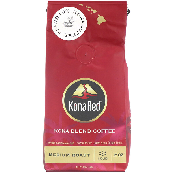 Kona Blend Coffee, Medium Roast, Ground, 12 oz (340 g)