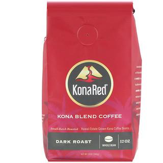 KonaRed Corp, Kona Blend Coffee, Dark Roast, Whole Bean, 12 oz (340 g)