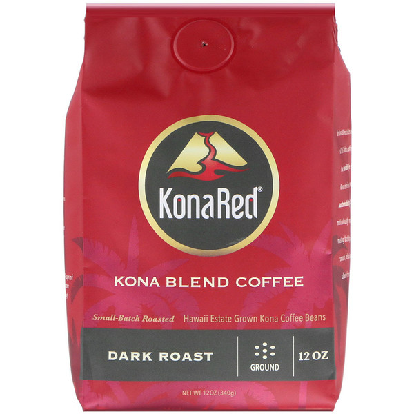 KonaRed, Kona Blend Coffee, Dark Roast, Ground, 12 oz (340 g) (Discontinued Item)