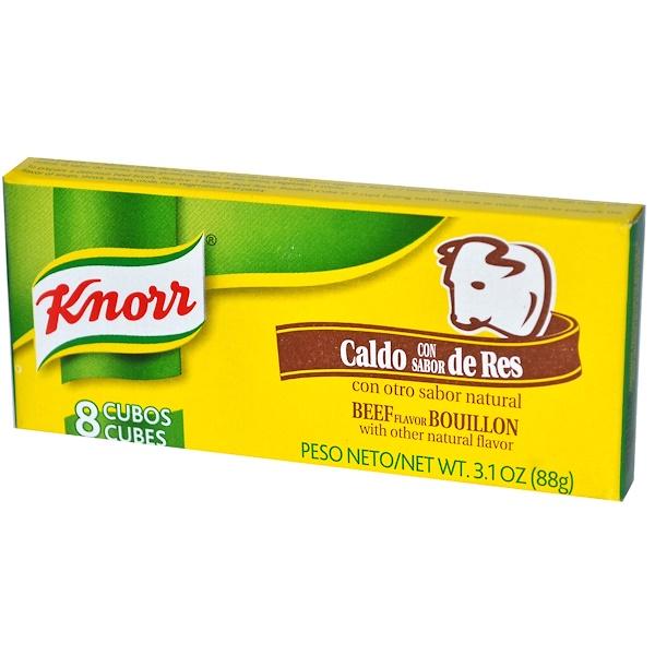 Knorr, Beef Flavor Bouillon, 8 Cubes, 3.1 oz (88 g) (Discontinued Item)