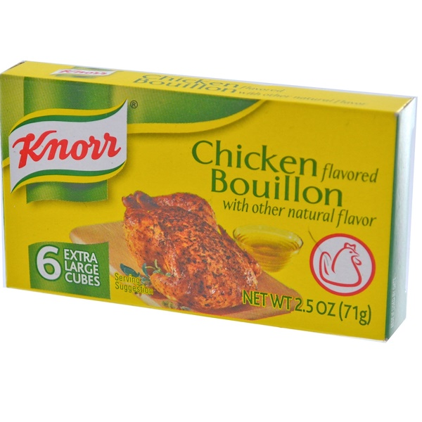 Knorr, Chicken Flavored Bouillon, 6 Extra Large Cubes, 2.5 oz (71 g) (Discontinued Item)