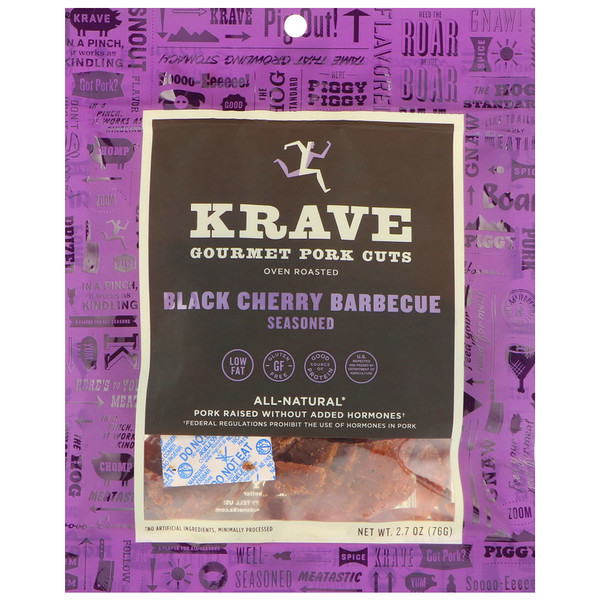 Krave, Gourmet Pork Cuts, Black Cherry Barbecue, 2.7 oz (76 g)
