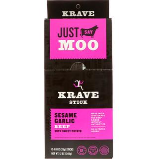 Krave, Jerky Sticks, Sesame Garlic Beef With Sweet Potato, 12 Sticks, 1 oz (28 g) Each