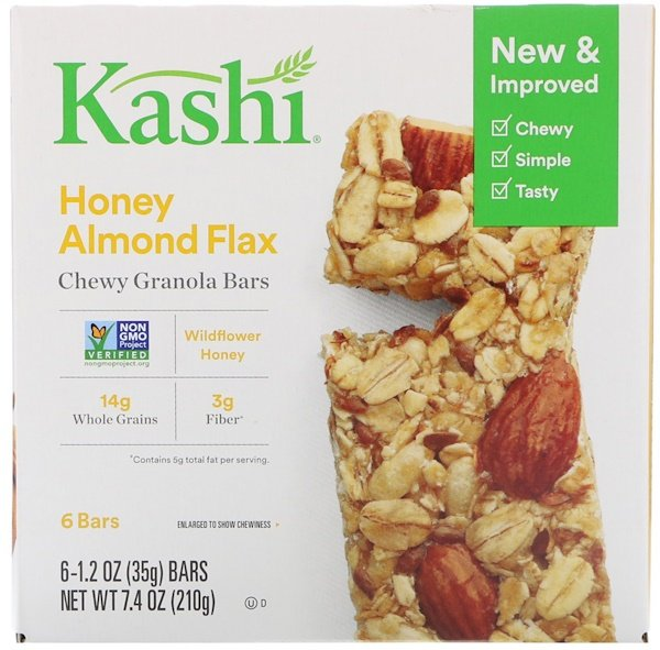 Kashi, Chewy Granola Bars, Honey Almond Flax, 6 barras, 35 g (1,2 oz) cada