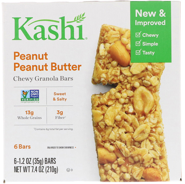 Chewy Granola Bars, Peanut Peanut Butter, 6 Bars, 1.2 oz (35 g) Each