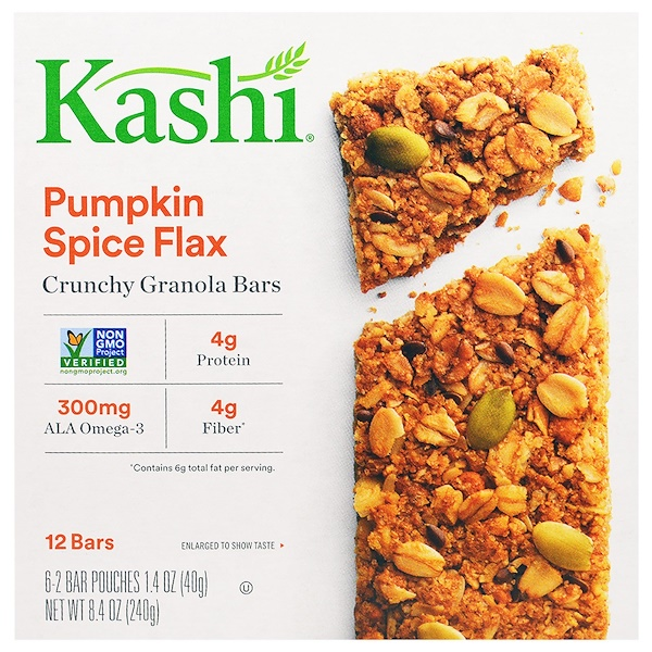 Kashi, Crunchy Granola Bars, Pumpkin Spice Flax, 6 Bars, 1.4 oz (40 g) Each (Discontinued Item)