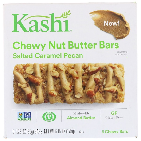 Kashi, Chewy Nut Butter Bars, Salted Caramel Pecan, 5 Chewy Bars, 1.23 oz (35 g) Each (Discontinued Item)