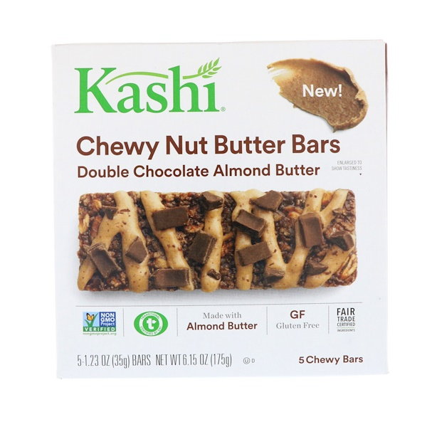 Kashi, Chewy Nut Butter Bars, Double Chocolate Almond Butter, 5 Chewy Bars, 1.23 oz (35 g) Each (Discontinued Item)