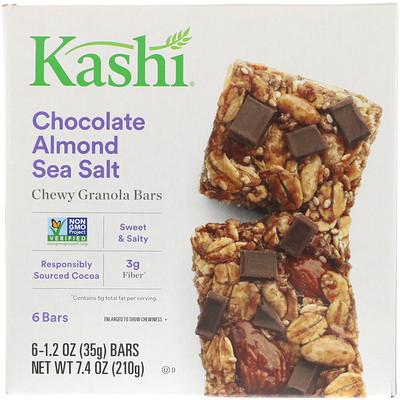 Купить Kashi Жевательные батончики с гранолой, шоколад, миндаль и морская соль, 6 батончиков, 1, 2 унц. (35 г) каждый