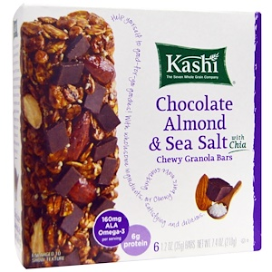Kashi, Жевательные батончики гранола с шоколадом, миндалем, морской солью и чиа, 1,2 унций (35 г) в каждом