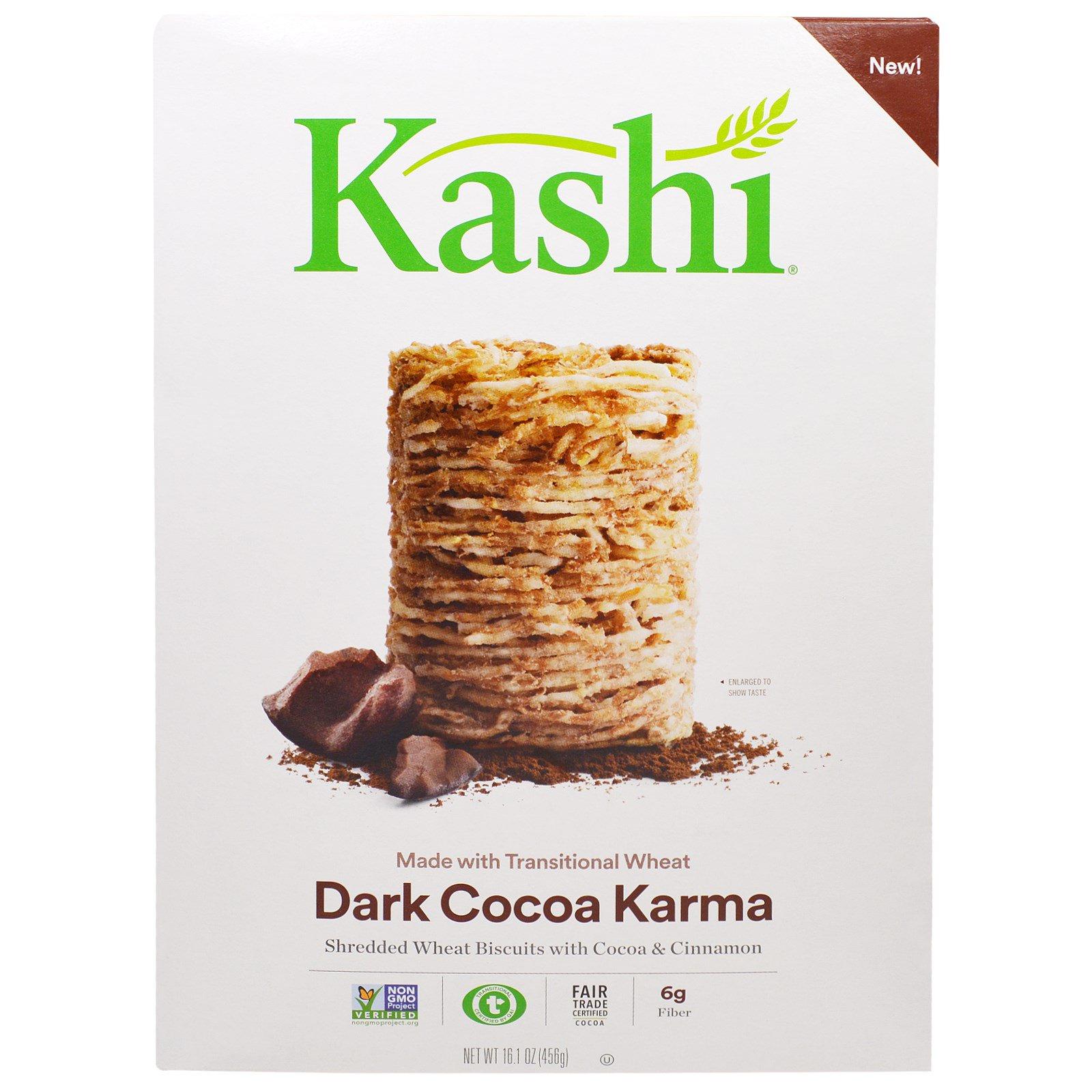 """Kashi, Зерновой завтрак с темным какао """"Dark Cocoa Karma"""", 16,1 унции (456 г)"""
