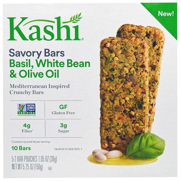 Kashi, セイボリーバー, バジル, ホワイトビーン&オリーブオイル, 5袋 (各2個入り), 各1.05オンス (30 g) (Discontinued Item)