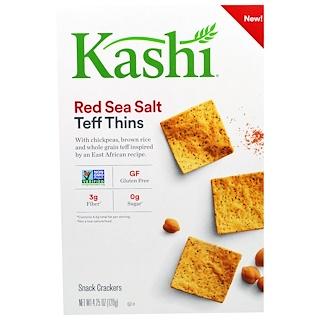 """Kashi, """"Тонкие тефовые штучки"""", закусочные крекеры с теф с красной морской солью, 4,25 унции (120 г)"""