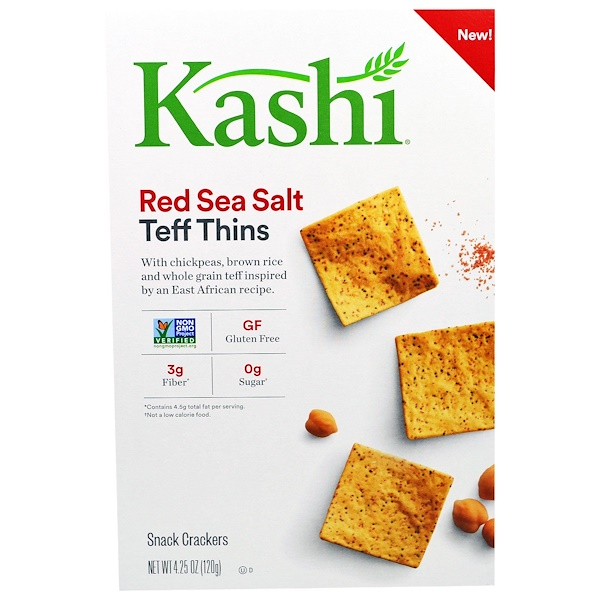 Kashi, Teff Thins, Red Sea Salt, Snack Crackers, 4.25 oz (120 g) (Discontinued Item)