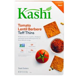 """Kashi, """"Тонкие тефовые штучки"""", закусочные крекеры с теф с помидорами, чечевицей и бербере, 4,25 унции (120 г)"""