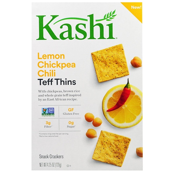 Kashi, Teff Thins, Lemon Chickpea Chili, Snack Crackers, 4.25 oz (120 g) (Discontinued Item)