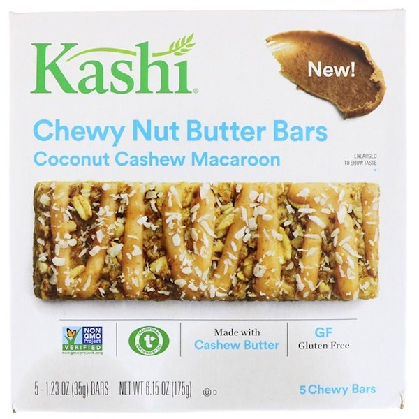 Kashi, Chewy Nut Butter Bars, Coconut Cashew Macaroon, 5 Bars, 1.23 oz (35 g) Each