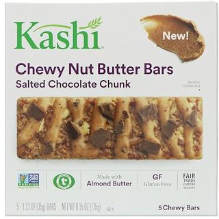 Kashi, しっとりナッツバターバー、ソルトチョコレートチャンク、5本、各1.23 oz (35 g)