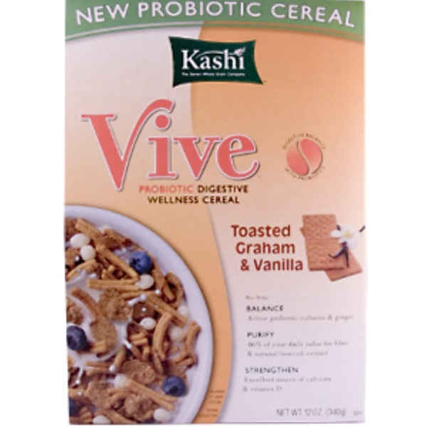 Kashi, Vive, Probiotic Digestive Wellness Cereal, Toasted Graham & Vanilla, 12 oz (340 g) (Discontinued Item)