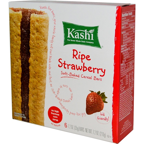 Kashi, Soft-Baked Cereal Bars, Ripe Strawberry, 6 Bars, 1.2 oz (35 g) Each (Discontinued Item)