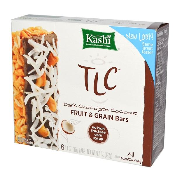 Kashi, TLC Fruit & Grain Bars, Dark Chocolate Coconut, 6 Bars, 1.1 oz (32 g) Each (Discontinued Item)