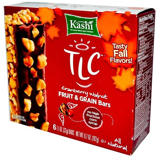 Kashi, TLC, Cranberry Walnut Fruit & Grain Bars, 6 Bars, 1 oz (32 g) Each (Discontinued Item)