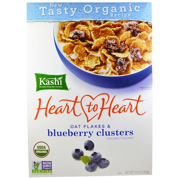 Kashi, Heart to Heart, Oat Flakes & Blueberry Clusters, 13.4 oz (380 g)