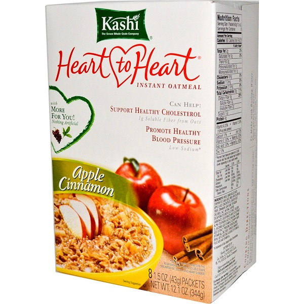 Kashi, Heart to Heart, Instant Oatmeal, Apple Cinnamon, 8 Packets,1.5 oz (43 g) Each (Discontinued Item)