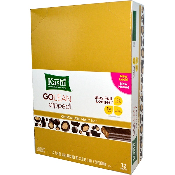 Kashi, GoLean Dipped!, Chocolate Malt Bar, 12 Bars, 1.94 oz (55 g) Each (Discontinued Item)