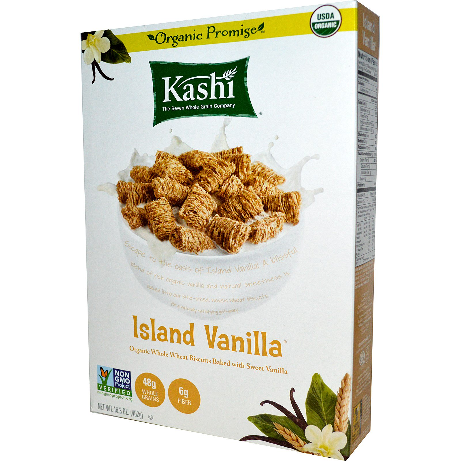 Kashi, Organic Whole Wheat Biscuits Cereal, Island Vanilla