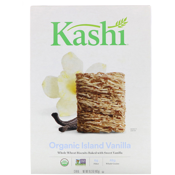 Kashi, Organic, Whole Wheat Biscuits Cereal, Island Vanilla, 16.3 oz (462 g) (Discontinued Item)
