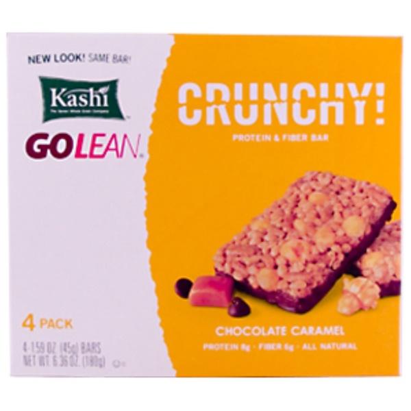 Kashi, GoLean, Crunchy Protein & Fiber Bar, Chocolate Caramel, 4 Bars, 1.59 oz (45 g) Each (Discontinued Item)