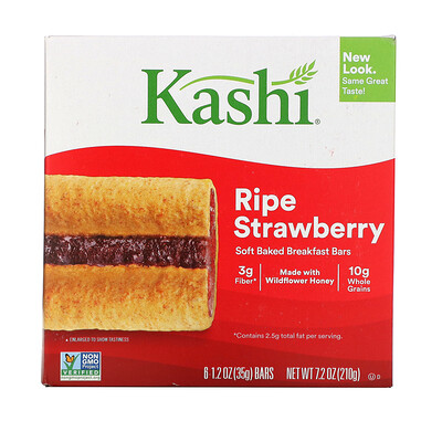 Купить Kashi Soft-Baked Cereal Bars, Ripe Strawberry, 6 Bars, 1.2 oz (35 g) Each