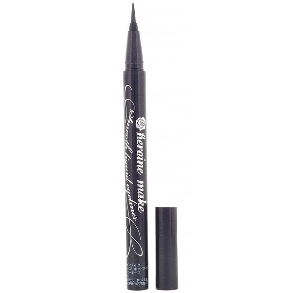 KissMe, Heroine Make, Eye-liner liquide velouté waterproof excellente tenue, #01 Super Black, 0,4 ml