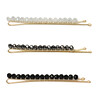Kitsch, Beaded Bobby Pins, Black/Silver, 3 Pieces