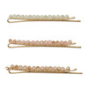 Kitsch, Beaded Bobby Pins, Blush/Mauve, 3 Pieces