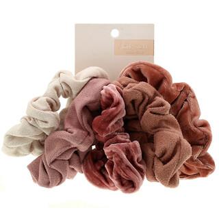 Kitsch, Velvet Scrunchies, Blush/Mauve, 5 Count