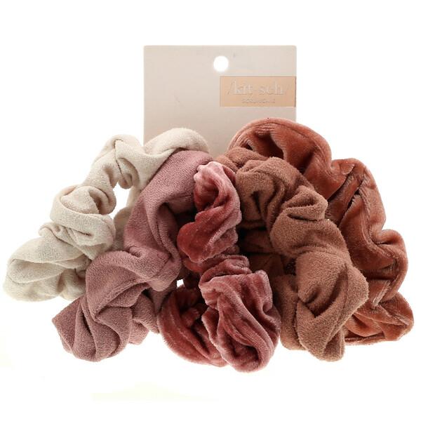 Velvet Scrunchies, Blush/Mauve, 5 Count