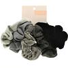Kitsch, Velvet Scrunchies, Black/Gray, 5 Count