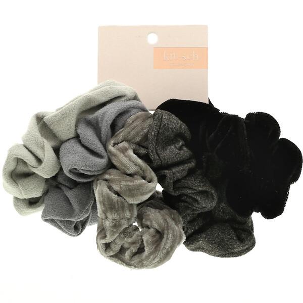 Velvet Scrunchies, Black/Gray, 5 Count