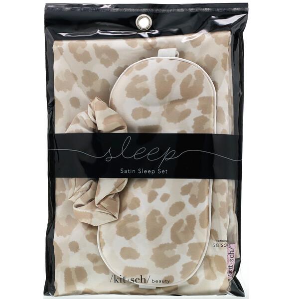 Satin Sleep Set, Leopard, 3 Piece Set
