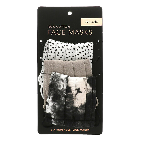 100% Cotton Reusable Face Masks, Neutral, 3 Pack