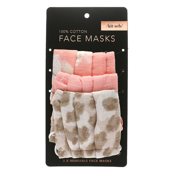 100% Cotton Reuseable Face Masks, Blush, 3 Pack