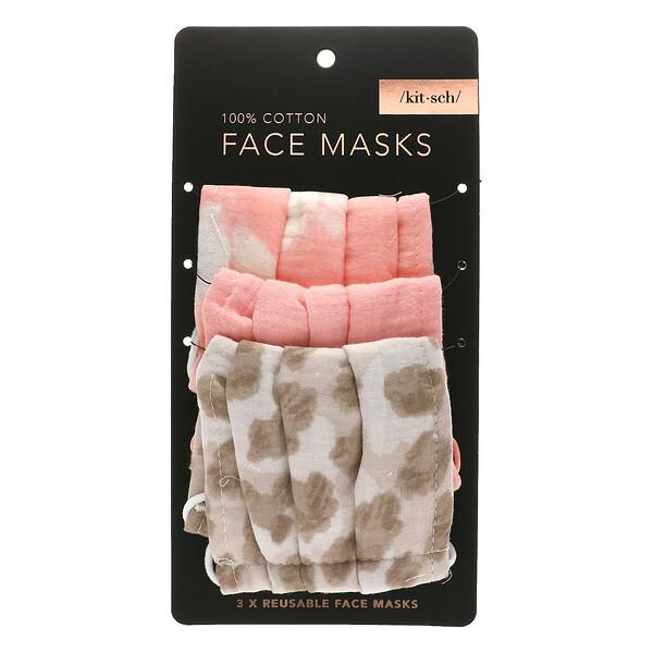 Kitsch, 100% Cotton Reuseable Face Masks, Blush, 3 Pack