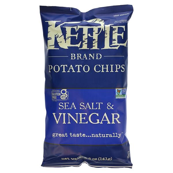 Kettle Foods, Potato Chips, Sea Salt & Vinegar, 5 oz (142 g)