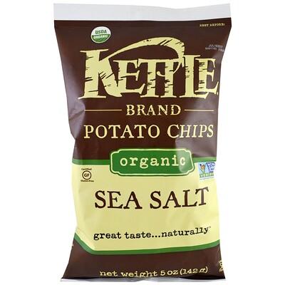 Kettle Foods Органические картофельные чипсы, морская соль, 5 унций (142 г)