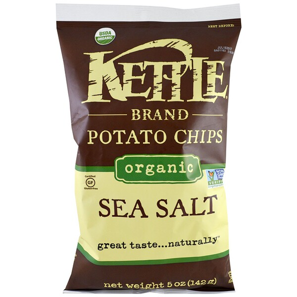 Kettle Foods, Organic Potato Chips, Sea Salt, 5 oz (142 g)