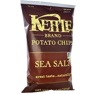 Kettle Foods Картофельные чипсы, морская соль, 142 г (5 унций)